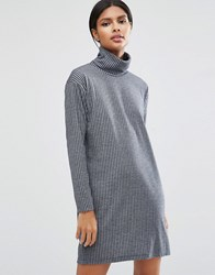 Asos Smock Polo Dress In Rib Denim Blue