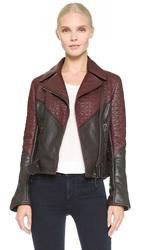 Maiyet Quilted Moto Jacket Brown Burgundy