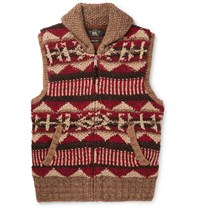 Rrl Shawl Collar Linen Silk Wool Cotton And Mohair Blend Gilet Red