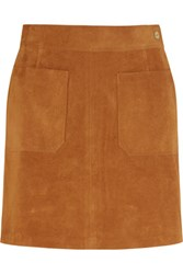 Frame Le High Suede Mini Skirt Tan
