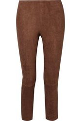 Vince Cropped Suede Skinny Pants Brown