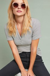 Anthropologie Brittany Collared Tee Black White
