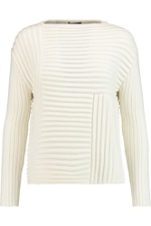 Raoul Ribbed Knitted Sweater White