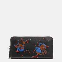 Coach Accordion Zip Wallet In Glovetanned Leather With Meadowlark Embellishment Black Copper Black