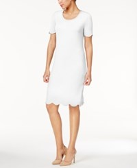 Ny Collection Textured Scalloped Dress White