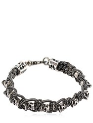 Emanuele Bicocchi Skull And Chain Sterling Silver Bracelet