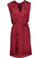 Isabel Marant Sudley Wrap Effect Satin Jacquard Dress Plum