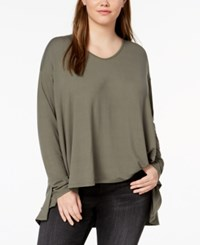 Say What Trendy Plus Size Long Sleeve Swing Top Olive