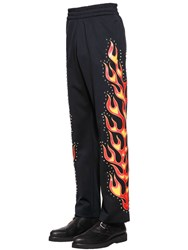 Moschino Flames Printed Studded Track Pants Black