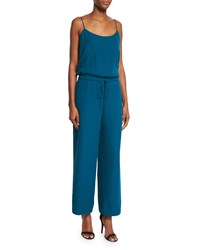 Haute Hippie Sleeveless Wide Leg Cropped Jumpsuit Teal Blue