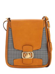 Lanvin Clasp Mini Cotton And Leather Hobo Bag Honey