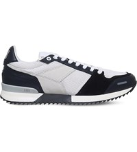 Ami Alexandre Mattiussi Running Leather And Mesh Trainers White Navy