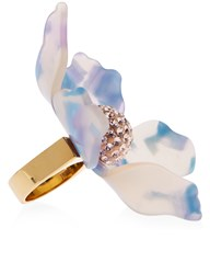 Lele Sadoughi Cloudy Sky Crystal Lily Ring Purple