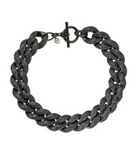 Pave Black Tone Chain Link Necklace