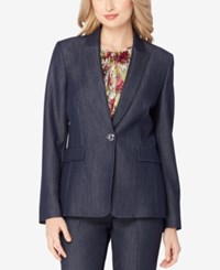 Tahari By Arthur S. Levine Asl Denim Blazer Chambray Blue