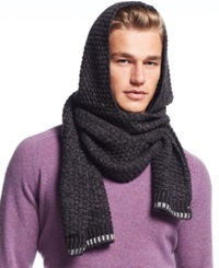 Calvin Klein Twisted Thermal Hooded Scarf Black