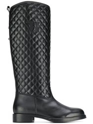 Trussardi Jeans Quilted Effect Boots Black