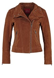 Edc By Esprit Leather Jacket Toffee Cognac