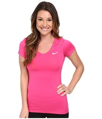 Nike Pro S S V Neck Top Hot Pink White Women's T Shirt