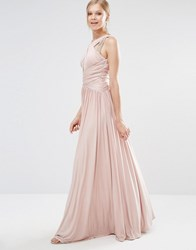 Forever Unique Pandora Slinky Maxi Dress With Cross Front And Embelished Shoulders Nude Cream