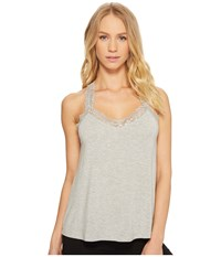 Pj Salvage P.J. Lily Leisuree Lace Tank Top Heather Grey Sleeveless Gray