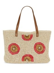 Straw Studios Floral Textured Tote Natural