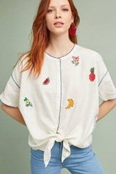 Intropia Fruitopia Embroidered Top Neutral Motif