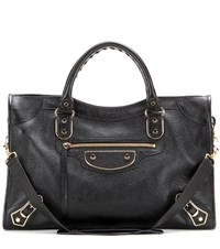 Balenciaga Classic Metallic Edge City Leather Tote Black