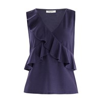 Paisie V Neck Top With Ruffle Overlay In Indigo Pink Purple