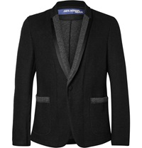 Junya Watanabe Black Satin And Felt Trimmed Wool Blend Blazer