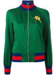 Gucci Floral Embroidered Bomber Jacket Green