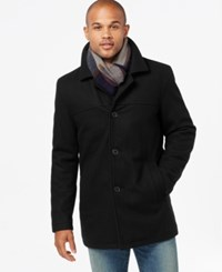 Tommy Hilfiger Big And Tall Melton Peacoat With Scarf Black