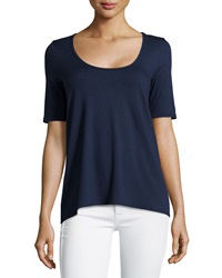 Three Dots Half Sleeve High Low Swing Tee Night Iris