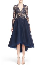 Women's Reem Acra Chantilly Lace And Embellished Tulle High Low Dress