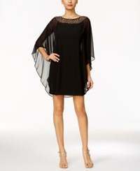 Xscape Evenings Petite Embellished Chiffon Cape Overlay Dress Black Antique