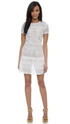 Self Portrait Patchwork Lace Dress White Nude
