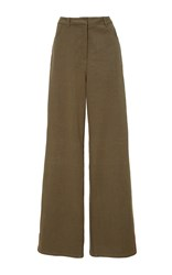 Tanya Taylor Embroidered Cotton Twill Bailey Pant Green
