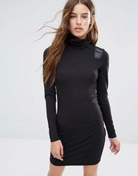 G Star Roll Neck Dress With Leather Look Panel Detail Black