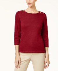 Karen Scott Cotton Zip Shoulder Sweater Created For Macy's New Red Amore