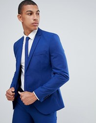 Selected Homme Skinny Suit Jacket In Blue With Stretch E7 Blue