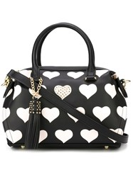 Twin Set Heart Print Tote Black