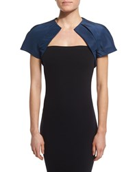 Monique Lhuillier Short Sleeve Structured Bolero Navy