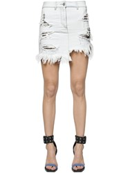 Versus Cotton Denim Skirt W Metal Mesh Inserts