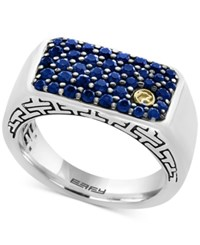 Effy Men's Sapphire Ring 1 3 8 Ct. T.W. In Sterling Silver And 18K Gold Blue