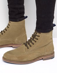 Asos Lace Up Boots With Apron Toe In Stone Suede Stone