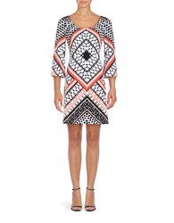 Jessica Simpson Patterned Shift Dress Coral