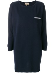Fay Long Sleeved Loose Fit Top Virgin Wool Viscose Cashmere Blue