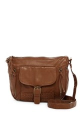 T Shirt And Jeans Woven Crossbody Brown