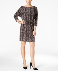 Nine West Printed Blouson Sheath Dress Black Tan