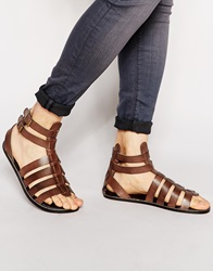 Asos Gladiator Sandals In Leather Brown